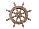 Handcrafted Model Ships rustic-wood-sw-12-seagull Rustic Wood Finish Decorative Ship Wheel With Seagull 12
