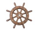 Handcrafted Model Ships rustic-wood-sw-12-starfish Rustic Wood Finish Decorative Ship Wheel With Starfish 12