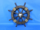Handcrafted Model Ships Rustic-Wood-SW-Palm-Tree-18 Rustic Wood Finish Ship Wheel with Palm Tree 18