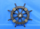 Handcrafted Model Ships Rustic-Wood-SW-Sailboat-18 Rustic Wood Finish Ship Wheel with Sailboat 18