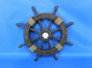 Handcrafted Model Ships Rustic-Wood-SW-Seashell-18 Rustic Wood Finish Ship Wheel with Seashell 18