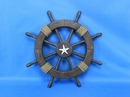 Handcrafted Model Ships Rustic-Wood-SW-Starfish-18 Rustic Wood Finish Ship Wheel with Starfish 18