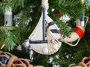 Handcrafted Model Ships Sailboat-Blue-XMASS Wooden Rustic Blue Sailboat Model Christmas Tree Ornament