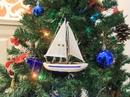 Handcrafted Model Ships Sailboat9-102-XMAS Blue Sailboat Christmas Tree Ornament 9
