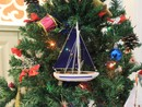 Handcrafted Model Ships Sailboat9-103-XMAS Blue Sailboat with Blue Sails Christmas Tree Ornament 9