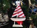 Handcrafted Model Ships sailboat9-110-XMAS Wooden Red Striped Sailboat Model Christmas Tree Ornament