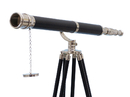 Handcrafted Model Ships ST-0117CH-L Floor Standing Chrome/Leather Galileo Telescope 65