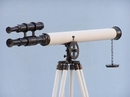 Handcrafted Model Ships ST-0124-Black-W Floor Standing Oil-Rubbed Bronze/White Leather Griffith Astro Telescope 64