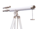 Handcrafted Model Ships ST-0124-BN-WL Floor Standing Brushed Nickel With White Leather Griffith Astro Telescope 65