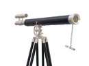 Handcrafted Model Ships ST-0124-BNL Floor Standing Brushed Nickel With Leather Griffith Astro Telescope 65