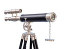 Handcrafted Model Ships ST-0126-BNL Floor Standing Brushed Nickel With Leather Griffith Astro Telescope 50