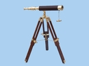 Handcrafted Model Ships ST-0136 - leather Floor Standing Brass/Leather Harbor Master Telescope 30