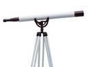 Handcrafted Model Ships ST-0148 BZ-WL Floor Standing Bronzed With White Leather Anchormaster Telescope 65