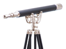 Handcrafted Model Ships ST-0148CH-L Floor Standing Chrome/Leather Anchormaster Telescope 65