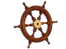 Handcrafted Model Ships SW-1717 Deluxe Class Wood and Brass Ship Wheel 18
