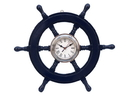 Handcrafted Model Ships SW-1720-CH-Dark-Blue Deluxe Class Dark Blue Wood And Chrome Pirate Ship Wheel Clock 18&Quot;