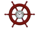 Handcrafted Model Ships SW-1720-CH-Red Deluxe Class Red Wood And Chrome Pirate Ship Wheel Clock 18&Quot;