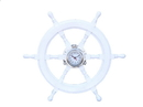Handcrafted Model Ships SW-1721A-White Deluxe Class White Wood And Chrome Pirate Ship Wheel Clock 24&Quot;