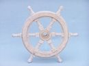 Handcrafted Model Ships SW-173112 Classic Wooden Whitewashed Ship Steering Wheel 12