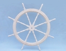Handcrafted Model Ships SW-173172 Classic Wooden Whitewashed Ship Steering Wheel 72