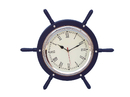 Handcrafted Model Ships SW-1753-CH-Blue Dark Blue Wood And Chrome Ship Wheel Clock 15
