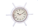 Handcrafted Model Ships SW-1753-CH-White White Wood And Chrome Ship Wheel Clock 15