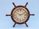 Handcrafted Model Ships SW-1753 Solid Wood & Brass Ship Wheel Clock 15