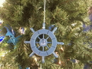 Handcrafted Model Ships SW-6-100-Sailboat-X Rustic Light Blue Decorative Ship Wheel With Sailboat Christmas Tree Ornament 6