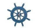 Handcrafted Model Ships SW-6-100-Seagull-NH Rustic Light Blue Decorative Ship Wheel With Seagull 6&Quot;