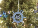 Handcrafted Model Ships SW-6-100-Seagull-X Rustic Light Blue Decorative Ship Wheel With Seagull Christmas Tree Ornament 6