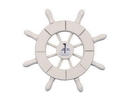 Handcrafted Model Ships SW-6-101-Sailboat-NH White Decorative Ship Wheel With Sailboat 6&Quot;