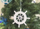 Handcrafted Model Ships SW-6-101-Seagull-X White Decorative Ship Wheel With Seagull Christmas Tree Ornament 6&Quot;