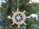 Handcrafted Model Ships SW-6-103-Sailboat-X Rustic Decorative Ship Wheel With Sailboat Christmas Tree Ornament 6