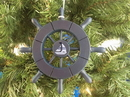 Handcrafted Model Ships SW-6-104-Sailboat-X Dark Blue Decorative Ship Wheel With Sailboat Christmas Tree Ornament 6