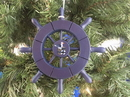 Handcrafted Model Ships SW-6-104-Seagull-X Dark Blue Decorative Ship Wheel With Seagull Christmas Tree Ornament 6