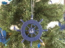 Handcrafted Model Ships SW-6-105-Sailboat-X Rustic Dark Blue Decorative Ship Wheel With Sailboat Christmas Tree Ornament 6