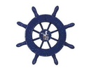 Handcrafted Model Ships SW-6-105-Seagull-NH Rustic Dark Blue Decorative Ship Wheel With Seagull 6&Quot;