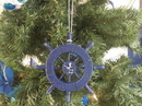 Handcrafted Model Ships SW-6-105-Seagull-X Rustic Dark Blue Decorative Ship Wheel With Seagull Christmas Tree Ornament 6