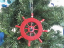 Handcrafted Model Ships SW-6-106-Seagull-X Red Decorative Ship Wheel With Seagull Christmas Tree Ornament 6