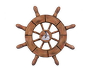 Handcrafted Model Ships SW-6-107-Sailboat-NH Rustic Wood Finish Decorative Ship Wheel With Sailboat 6&Quot;