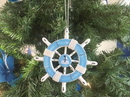 Handcrafted Model Ships SW-6-109-Sailboat-X Rustic Light Blue And White Decorative Ship Wheel With Sailboat Christmas Tree Ornament 6