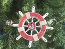 Handcrafted Model Ships SW-6-110-Sailboat-X Rustic Red And White Decorative Ship Wheel With Sailboat Christmas Tree Ornament 6