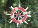 Handcrafted Model Ships SW-6-110-Seagull-X Rustic Red And White Decorative Ship Wheel With Seagull Christmas Tree Ornament 6