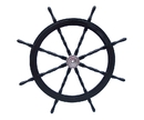 Handcrafted Model Ships SW-60-CH-Black Deluxe Class Wood and Chrome Pirate Ship Steering Wheel 60