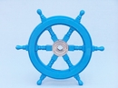 Handcrafted Model Ships SW12CH-L blue Deluxe Class Light Blue Wood and Chrome Ship Steering Wheel 12