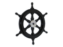 Handcrafted Model Ships SW18CH-Black Deluxe Class Wood and Chrome Pirate Ship Steering Wheel 18