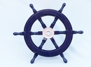 Handcrafted Model Ships SW18CH-D blue Deluxe Class Dark Blue Wood and Chrome Ship Steering Wheel 18