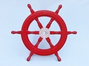 Handcrafted Model Ships SW18CH-D Red Deluxe Class Dark Red Wood and Chrome Ship Steering Wheel 18