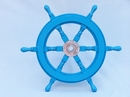 Handcrafted Model Ships SW18CH-L blue Deluxe Class Light Blue Wood and Chrome Ship Steering Wheel 18