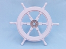 Handcrafted Model Ships SW18CH-White Deluxe Class White Wood and Chrome Ship Steering Wheel 18